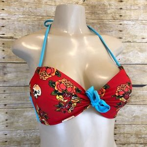 Hot Topic Skull Forever Love Bikini Top Medium